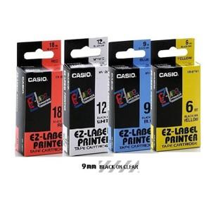 卡西歐 XR9X1 9mm 標籤帶 (透明底黑字)