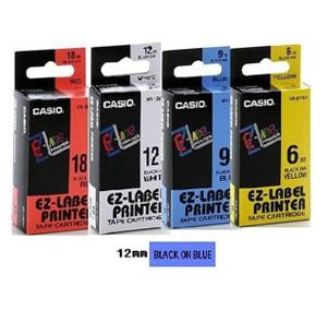 卡西歐 XR12BU1 12mm 標籤帶 (藍底黑字)