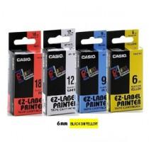 卡西歐 XR6YW1 6mm 標籤帶 (黃底黑字)