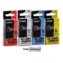 卡西歐 XR12SR1 12mm 標籤帶 (銀底黑字)