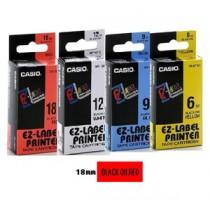 卡西歐 XR18RD1 18mm 標籤帶 (紅底黑字)