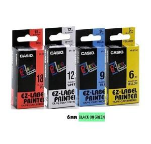 卡西歐 XR6GN1 6mm 標籤帶 (綠底黑字)