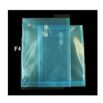 F4 透明有繩公文袋 - 藍色