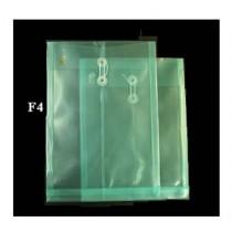 F4 透明有繩公文袋 - 綠色