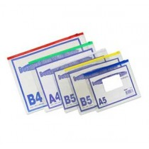 A5  PVC 透明密實袋式拉扣文件袋