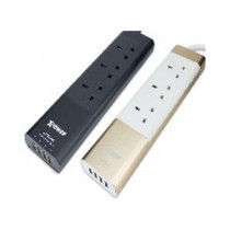 XPOWER XPS3AC 3 SOCKETS 4 USB ALUMINIUM POWER STRIP – GOLD (XP-XPS3AC-GD)