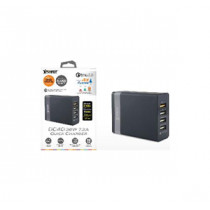 XPOWER DC4Q 7.2A 4-Port USB Smart Charger w/QC3.0 –Black+Silver (XP-DC4Q-BKSI)