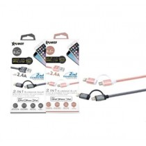 XPOWER 3RD GEN 0.2M MFI Lightning + Micro USB Cable – Rose Gold (XP-MFI2I13G0_2-RG)