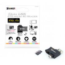 XPOWERPRO DUAL USB OTD MICRO SD READER – BLACK (XPP-CROM-BK)