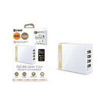 XPOWER DC4Q 7.2A 4-Port USB Smart Charger w/QC3.0 –White+Gold (XP-DC4Q-WHGD)