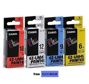 卡西歐 XR9BU1 9mm 標籤帶 (藍底黑字)