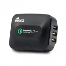 "INNOZ Q3W 3-Port 25W 5A ""Quick Charge 3.0"" USB Wall Charger - Black (PC-Q3WBK)"