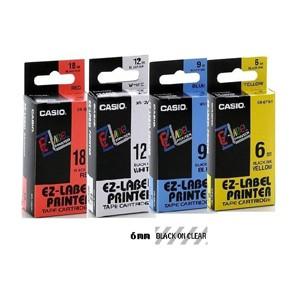 卡西歐 XR6X1 6mm 標籤帶 (透明底黑字)