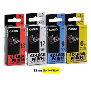 卡西歐 XR12YW1 12mm 標籤帶 (黃底黑字)