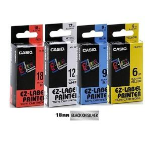 卡西歐 XR18SR1 18mm 標籤帶 (銀底黑字)
