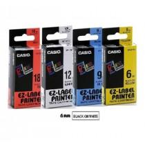 卡西歐 XR6WE1 6mm 標籤帶 (白底黑字)