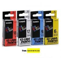 卡西歐 XR9YW1 9mm 標籤帶 (黃底黑字)