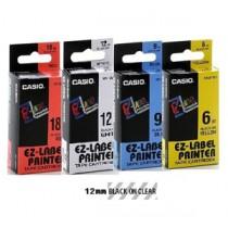 卡西歐 XR12X1 12mm 標籤帶 (透明底黑字)