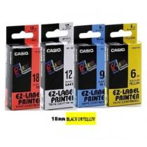 卡西歐 XR18YW1 18mm 標籤帶 (黃底黑字)