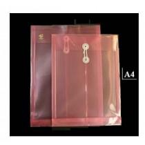 A4 透明有繩公文袋 - 紅色