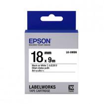 EPSON C53S655401 (C53S655501) (LK-5WBN) BLACK ON WHITE 18MM TAPE