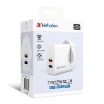 VERBATIM 2 PORT 25W QC3.0 CHARGER – WHITE (66569)