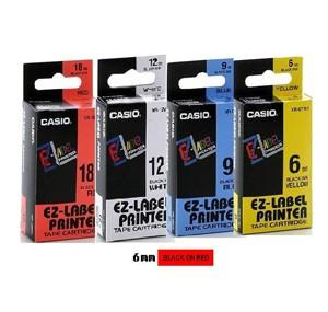 卡西歐 XR6RD1 6mm 標籤帶 (紅底黑字)