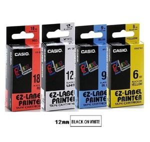 卡西歐 XR12WE1 12mm 標籤帶 (白底黑字)