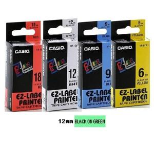 卡西歐 XR12GN1 12mm 標籤帶 (綠底黑字)