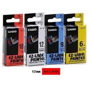 卡西歐 XR12RD1 12mm 標籤帶 (紅底黑字)