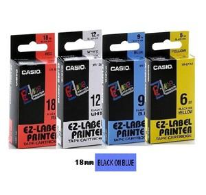 卡西歐 XR18BU1 18mm 標籤帶 (藍底黑字)