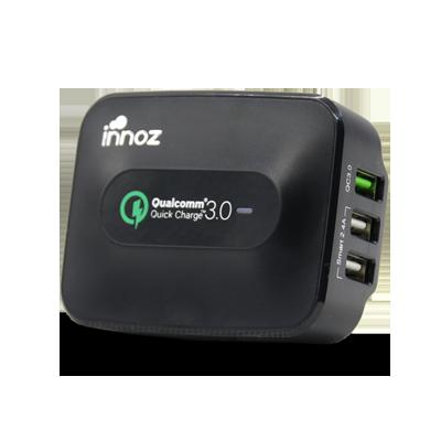 "INNOZ Q3W 3-Port 25W 5A ""Quick Charge 3.0"" USB Wall Charger - Black (PC-Q3WBK)"