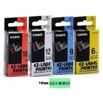 卡西歐 XR18GN1 18mm 標籤帶 (綠底黑字)