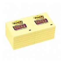 """3M 654-12SSCY 3"""" x 3"""" 黃色超強黏貼報事貼"""