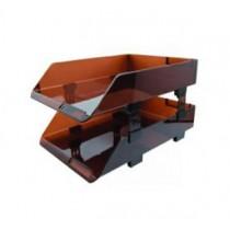 HR-323  A4 雙層亞加力文件盤 - 茶色