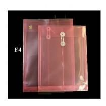F4 透明有繩公文袋 - 紅色