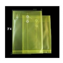 F4 透明有繩公文袋 - 黃色