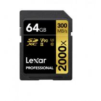 LEXAR SDXC PROFESSIONAL 2000X  64GB U3 V90 UHS-II W/ READER (LSD64GCB2000R)